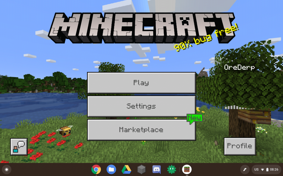 Screenshot of Bedrock Edition on a Chromebook
