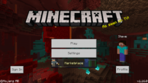 The Minecraft Markeplace on the menu
